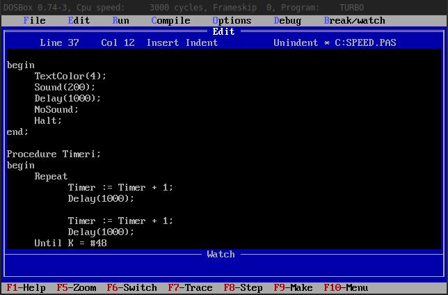 Turbo Pascal 5 in DOSBox